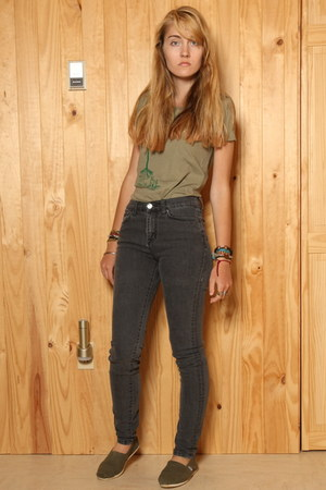 army green Toms shoes - heather gray Urban Outfitters jeans - olive green Trees