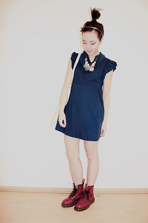 blue Zara dress - red doc martens boots
