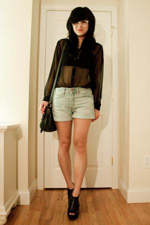 H&M blouse - ash lotus wedges