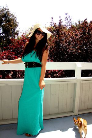 green f21 dress - yellow hat - black belt