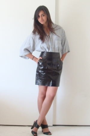 dads old union bay shirt - express leather skirt - Target shoes