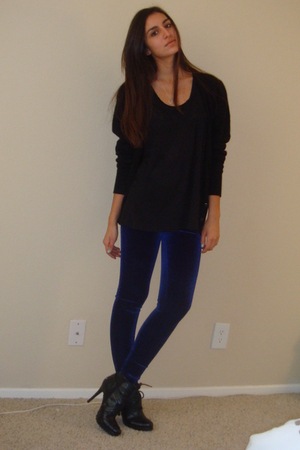 black Vintage BHS cardigan - black Express t-shirt - purple Forever21 leggings -