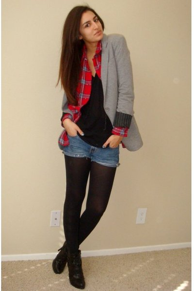 gray Express blazer - red dads plaid flannel shirt - blue DIY calvin klein short