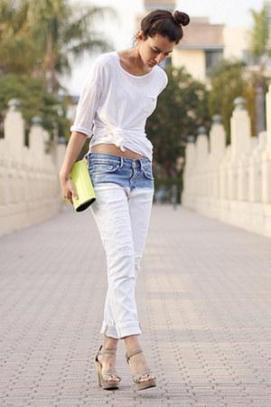 light blue Zara jeans - white Zara sweater - chartreuse BCBG bag