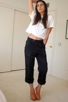 white diy cropped hanes t-shirt - blue Dads vintage pants - brown Frye shoes