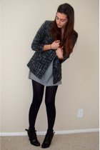 black Silence & Noise blazer - gray Target t-shirt - black Dollhouse boots