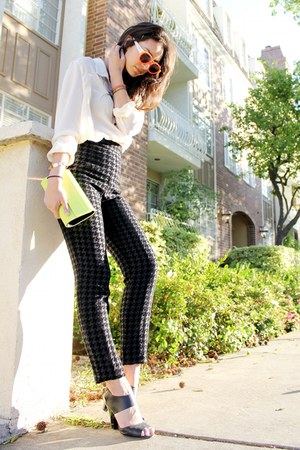 black American Apparel pants - ivory pajama Gap Body shirt - chartreuse BCBG bag