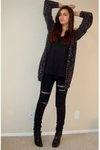 gray leopardprint Forever21 cardigan - black Dollhouse boots