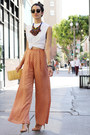 Tan-vintage-bag-nude-zara-sandals-white-diy-hanes-t-shirt