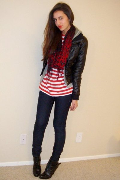 red Vintage Ralph Lauren t-shirt - red Express scarf - gray Juicy Couture jacket