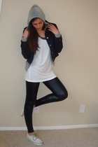 black Express leggings - white Forever21 top - gray juicy couture its old i swea