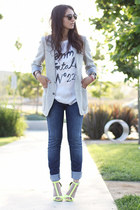 yellow Zara heels - blue joes jeans - heather gray Vintage YSL blazer
