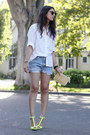 White-vintage-shirt-beige-vintage-bag-blue-wrangler-diy-shorts
