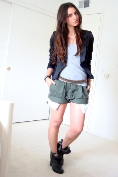 green dads old rolled up shorts - gray Zara t-shirt - black zac posen for target