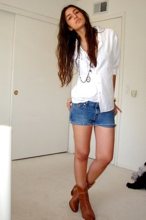 white my bros old shirt - blue DIY calvin klein shorts shorts - brown vintage my