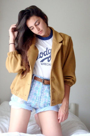 blue thrifted shorts - yellow American Apparel jacket