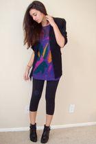 black vintage blazer - purple vintage from Wasteland sweater - black danskin leg