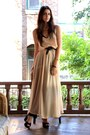 Tan-chiffon-american-apparel-dress-black-vintage-belt-black-marc-by-marc-jac