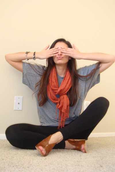 gray American Apparel t-shirt - orange H&M scarf - black Express leggings - brow