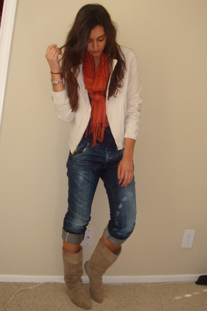 white Express jacket - blue American Apparel t-shirt - orange H&amp;M scarf - blue e