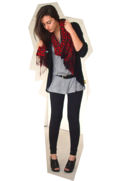 black Express cardigan - gray Target t-shirt - black kmart mes belt - red Expres