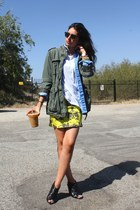 yellow Restler dress - army green H&M jacket - blue denim American Apparel shirt