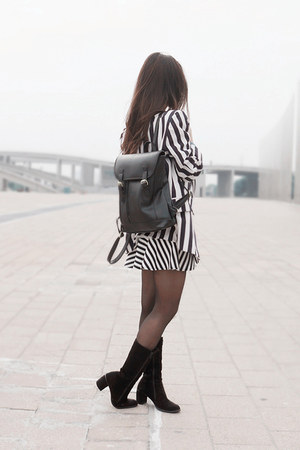 vintage boots - stripe vintage blazer - stripe Forever 21 skirt