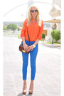 Orange-zara-shirt-brown-topshop-bag-blue-bershka-pants