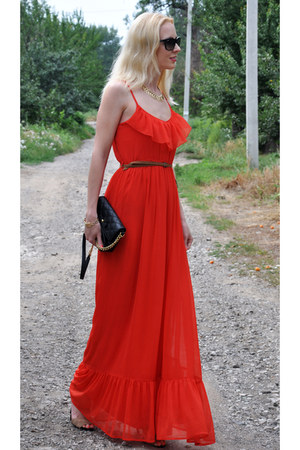 red hot red pull&bear dress - black Marc by Marc Jacobs bag