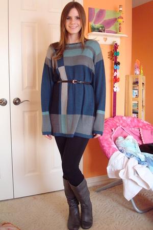 blue dress - black leggings - gray Steve Madden boots - H&M belt