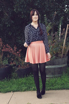 navy Myer blouse - coral Mink Pink skirt