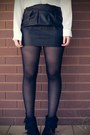 Black-boots-white-sheer-shirt-black-leather-skirt