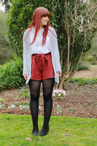 coral Dotti shorts - white sheer blouse - heather gray cardigan