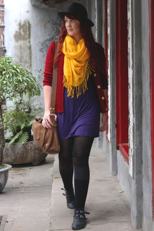 deep purple dress - crimson cardigan - gold scarf - black hat - black boots