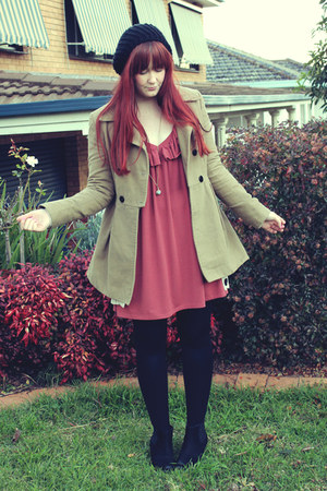 coral rust dress - camel coat