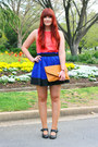 Light-orange-envelope-clutch-sportsgirl-bag-blue-dotti-skirt