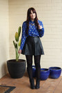 Blue-cat-print-sportsgirl-shirt-black-leather-ally-skirt