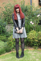 black Topshop bag - heather gray Topshop dress - black Dotti jacket