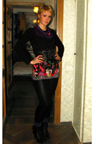 purple Yumi at Topshop top - black vintage from Ebay leggings - black Mango boot