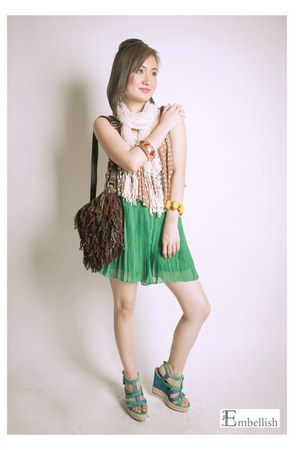 Embellish scarf - Embellish bag - Embellish shorts - Embellish top