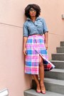 Old-navy-shirt-plaid-thrifted-skirt-leather-enzo-angiolini-heels