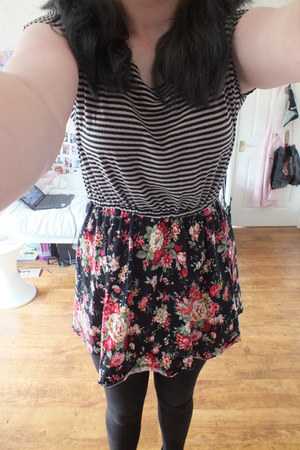 black and multi-coloured striped and floral dress - black leggings