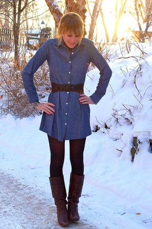 blue dress - dark brown boots