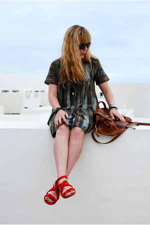 red balenciaga shoes - green Topshop dress - brown Mulberry purse