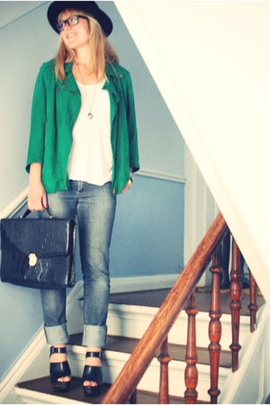 green acne jacket - blue acne jeans - black vintage purse - black Zara shoes - b