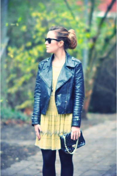 black Nu notes jacket - black Topshop boots - light yellow Topshop dress