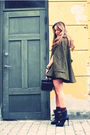 Green-asos-coat-black-h-m-shorts-black-burberry-prorsum-boots-black-vintag