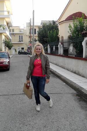 lak t-shirt - Diesel jeans - All star shoes - longchamp purse - Stradivarius jac