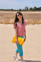 red Audrey 31 shirt - blue vintage pants - yellow Marc by Marc Jacobs purse - wh
