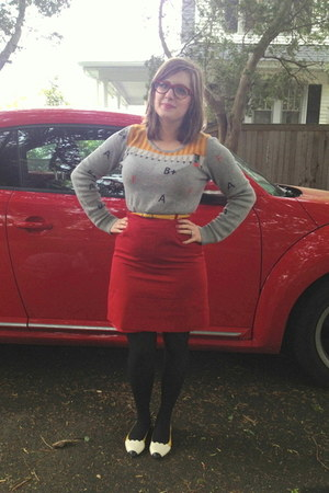 red thrifted vintage skirt - silver Urban Outfitters sweater